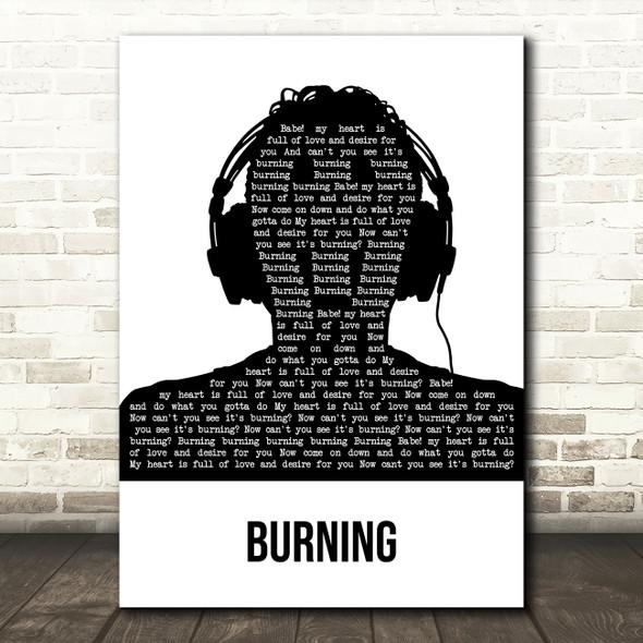 Bob Sinclar Burning Black & White Man Headphones Song Lyric Art Print