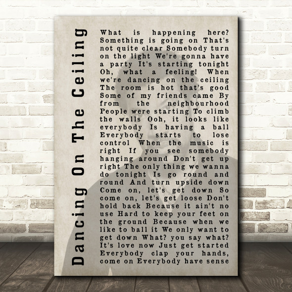 Lionel Richie Dancing On The Ceiling Shadow Song Lyric Quote Print