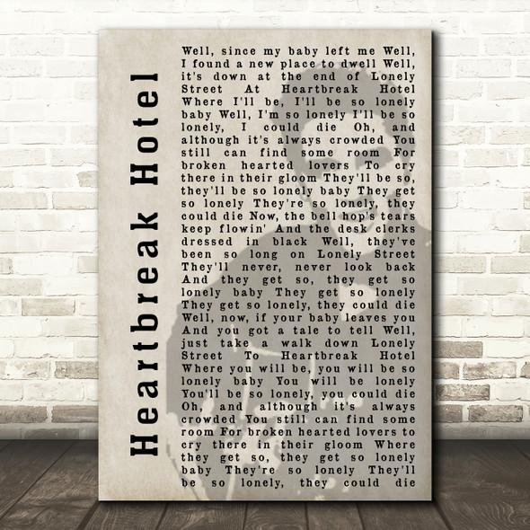 Elvis Presley Heartbreak Hotel Face Shadow Song Lyric Quote Print