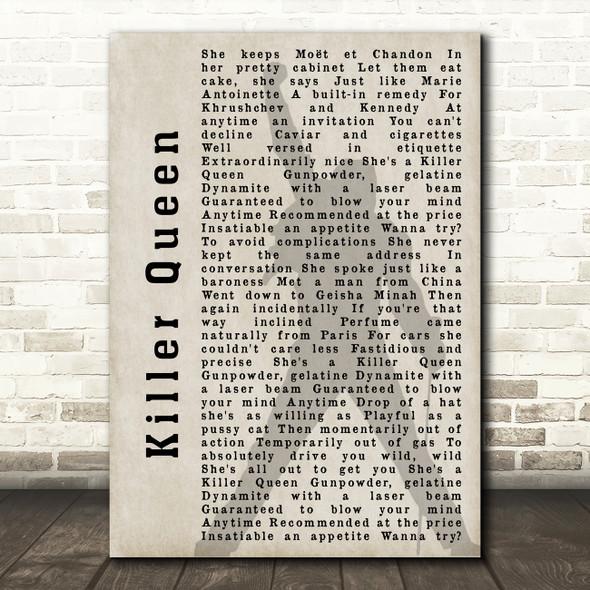 Queen Killer Queen Freddie Mercury Shadow Song Lyric Quote Print