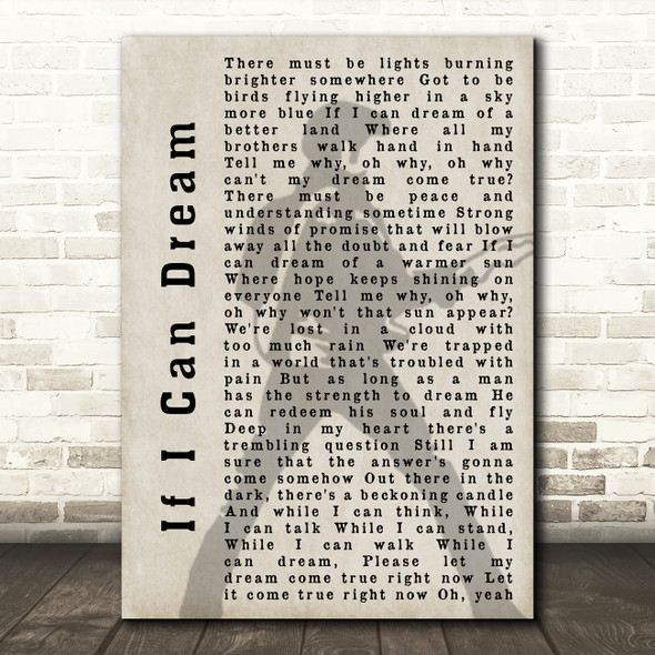 Elvis Presley If I Can Dream Pose Shadow Song Lyric Quote Print