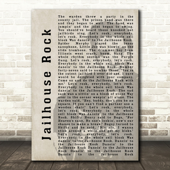 Elvis Presley Jailhouse Rock Face Shadow Song Lyric Quote Print