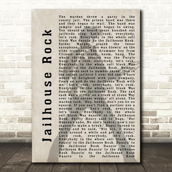 Elvis Presley Jailhouse Rock Pose Shadow Song Lyric Quote Print