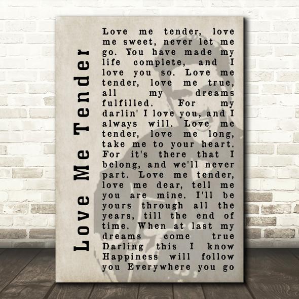 Elvis Presley Love Me Tender Face Shadow Song Lyric Quote Print