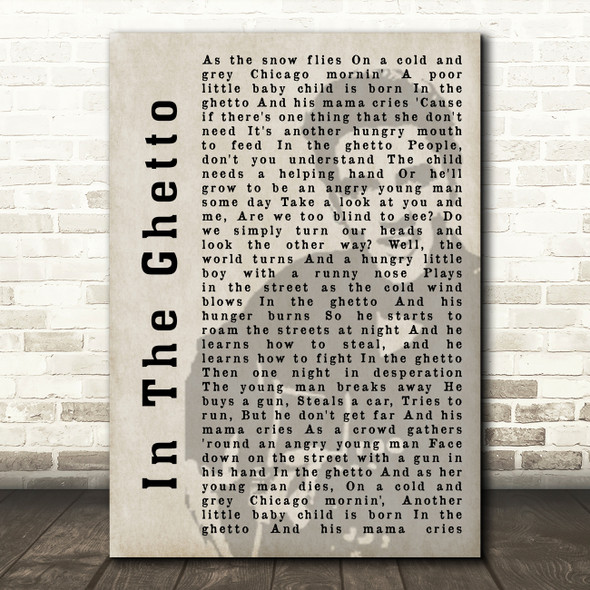 Elvis Presley In The Ghetto Face Shadow Song Lyric Quote Print