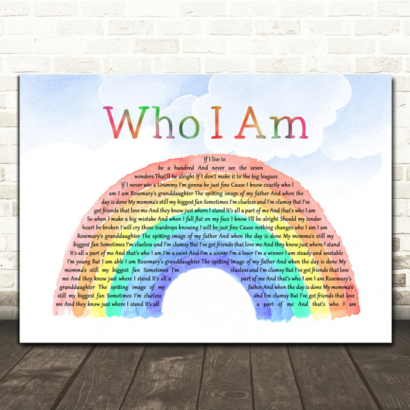 Jessica Andrews Who I Am Watercolour Rainbow & Clouds Song Lyric Art Print