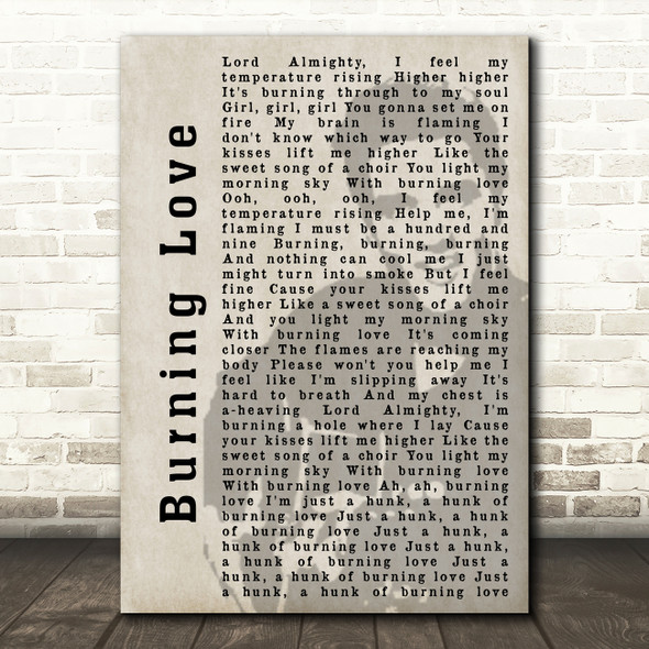 Elvis Presley Burning Love Face Shadow Song Lyric Quote Print