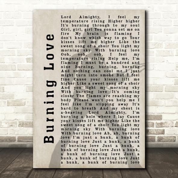 Elvis Presley Burning Love Pose Shadow Song Lyric Quote Print