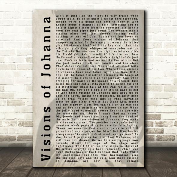 Bob Dylan Visions of Johanna Shadow Song Lyric Quote Print