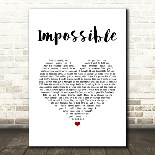 Nothing But Thieves Impossible White Heart Song Lyric Art Print