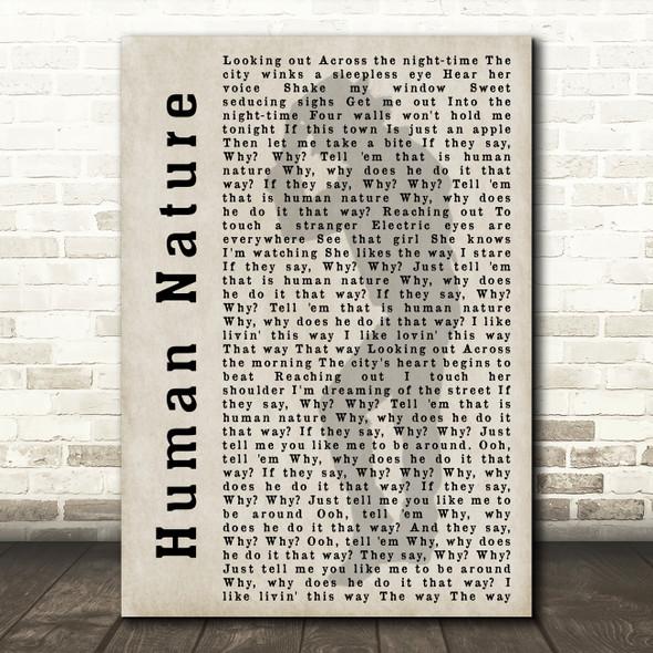 Michael Jackson Human Nature Shadow Song Lyric Quote Print