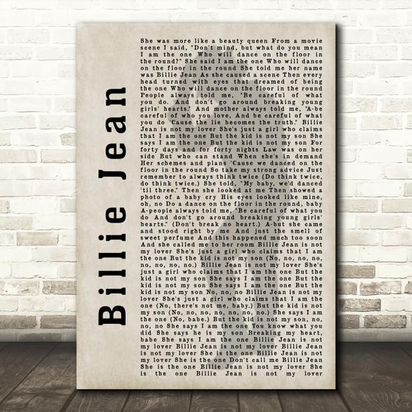Michael Jackson Billie Jean Shadow Song Lyric Quote Print