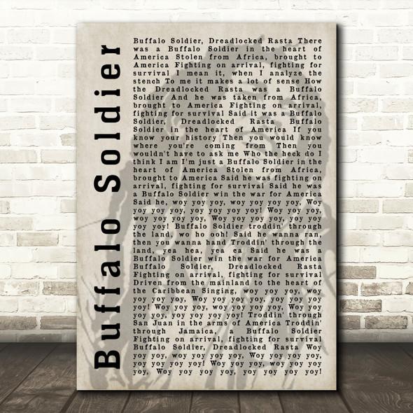 Bob Marley Buffalo Soldier Shadow Song Lyric Quote Print