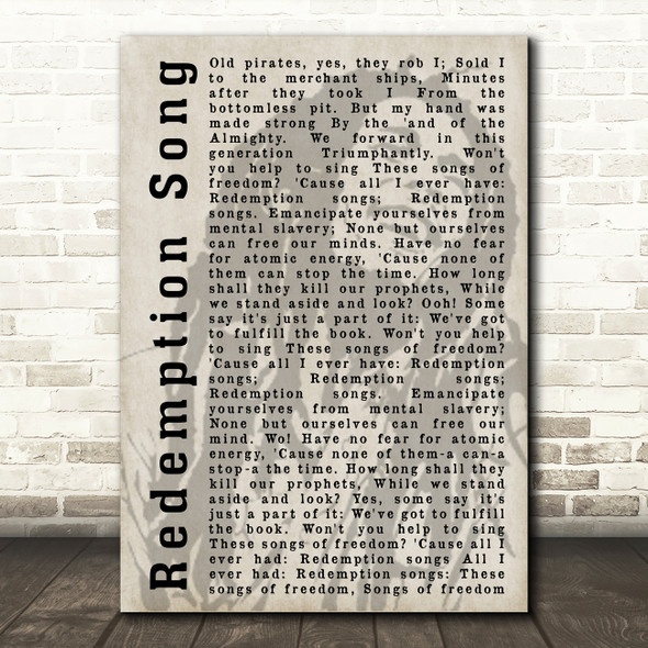 Bob Marley Redemption Song Shadow Song Lyric Quote Print