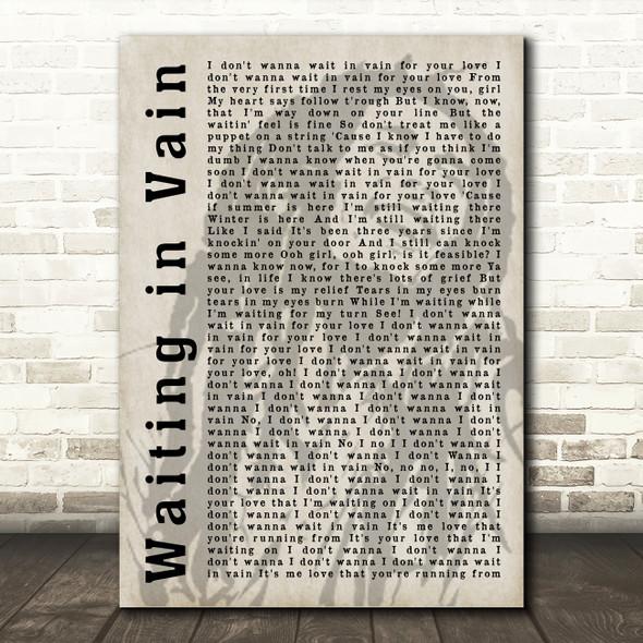 Bob Marley Waiting in Vain Shadow Song Lyric Quote Print