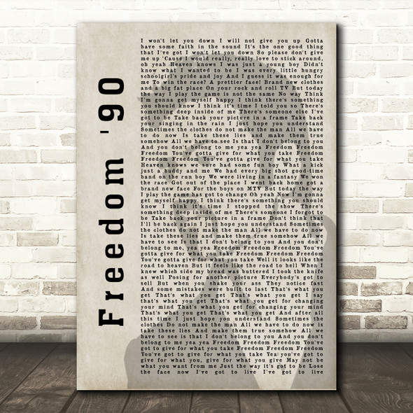 George Michael Freedom '90 Shadow Song Lyric Quote Print