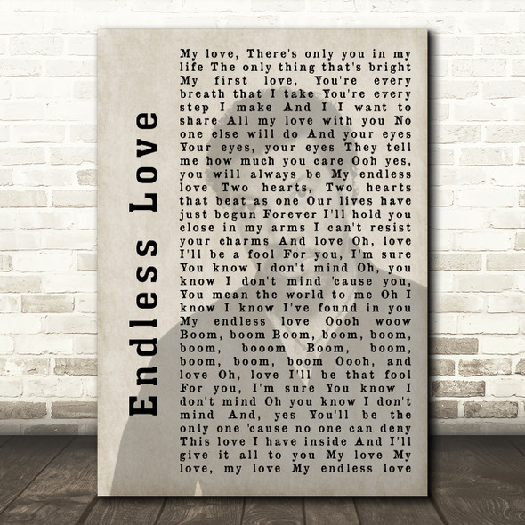 Lionel Richie Endless Love Shadow Song Lyric Quote Print