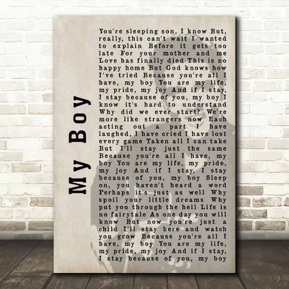 Elvis Presley My Boy Face Shadow Song Lyric Quote Print