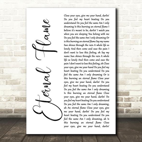 The Bangles Eternal Flame White Script Song Lyric Art Print
