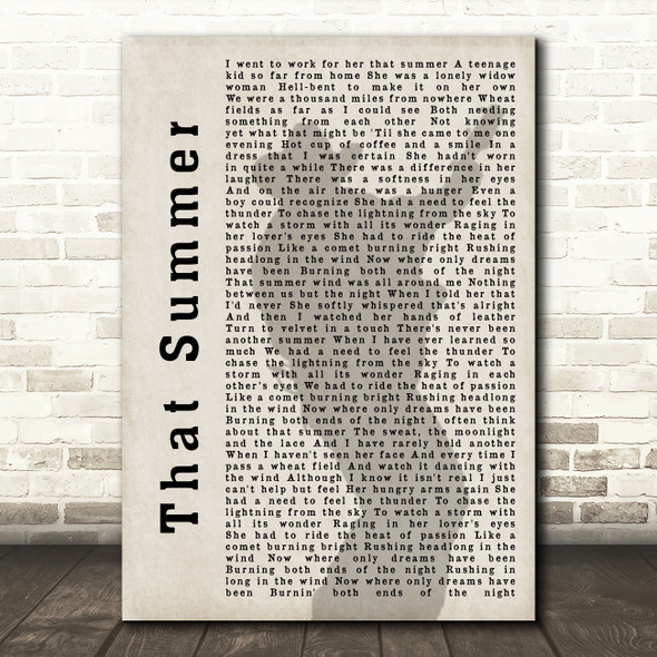 Garth Brooks That Summer Shadow Song Lyric Quote Print