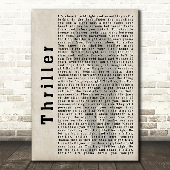 Michael Jackson Thriller Shadow Song Lyric Quote Print
