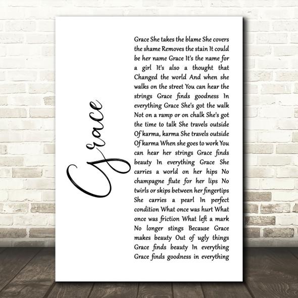 U2 Grace White Script Song Lyric Art Print