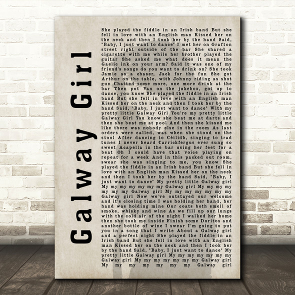 Ed Sheeran Galway Girl Shadow Song Lyric Quote Print