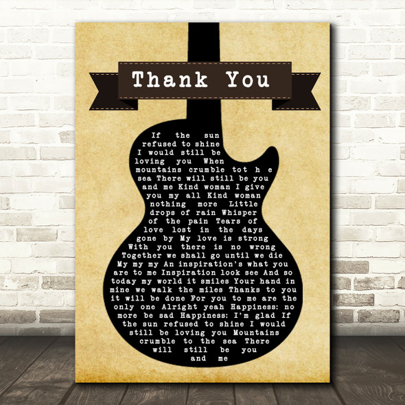 Led Zeppelin Thank You Black Guitar Song Lyric Quote Print