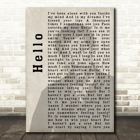 Lionel Richie Hello Shadow Song Lyric Quote Print