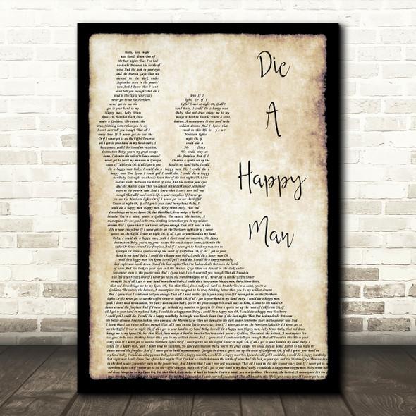 Thomas Rhett Die A Happy Man Man Lady Dancing Song Lyric Quote Print