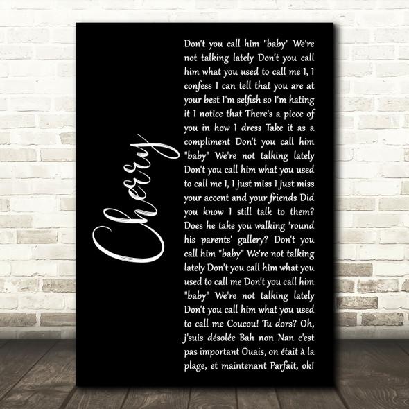 Harry Styles Cherry Black Script Song Lyric Art Print