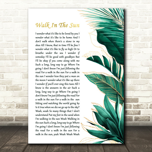 McFly Walk In The Sun Gold Green Botanical Leaves Side Script Song Lyric Art Print