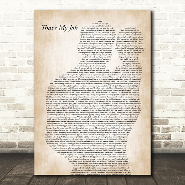 Conway Twitty That's My Job Father & Baby Song Lyric Art Print