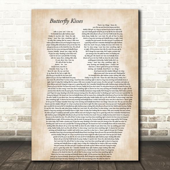 Bob Carlisle Butterfly Kisses Father & Child Song Lyric Art Print