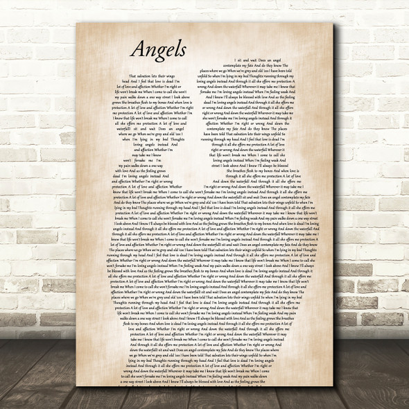 Robbie Williams Angels Father & Child Song Lyric Art Print