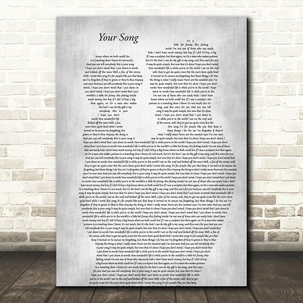 Elton John Your Song Father & Child Grey Song Lyric Art Print