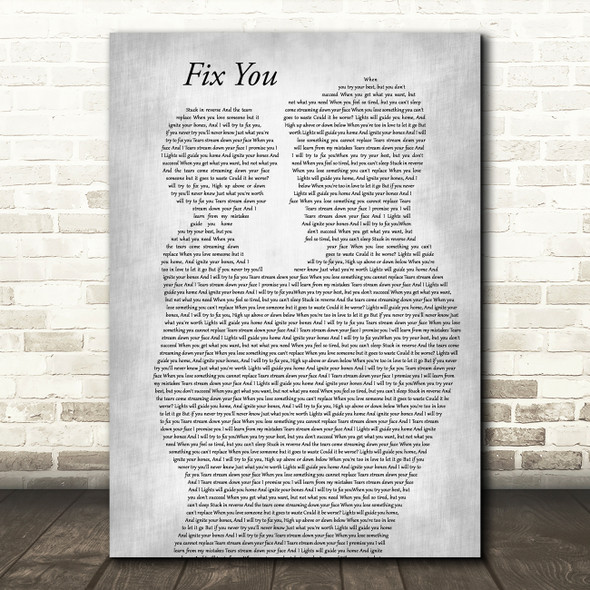 Coldplay Fix You Father & Child Grey Song Lyric Art Print