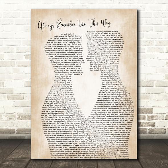 Lady Gaga Always Remember Us This Way Two Men Gay Couple Wedding Song Lyric Art Print