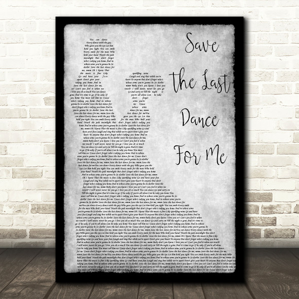 The Drifters Save The Last Dance For Me Grey Man Lady Dancing Song Lyric Art Print