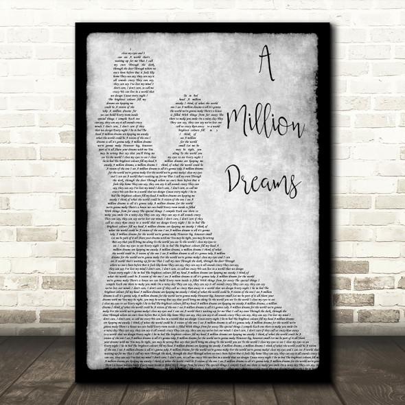 The Greatest Showman A Million Dreams Grey Man Lady Dancing Song Lyric Art Print