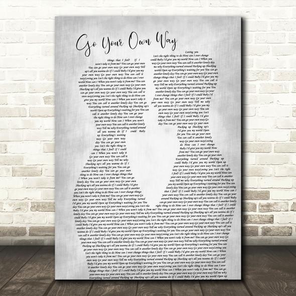 Fleetwood Mac Go Your Own Way Two Men Gay Couple Wedding Grey Song Lyric Art Print