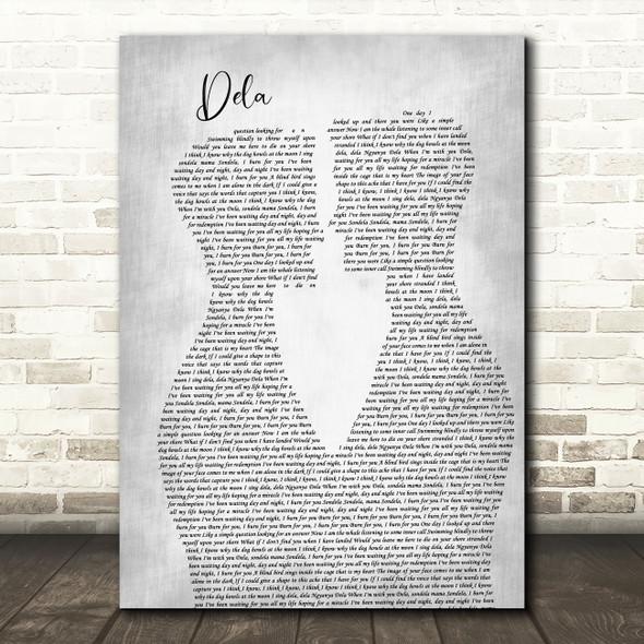 Johnny Clegg Dela Two Men Gay Couple Wedding Grey Song Lyric Art Print