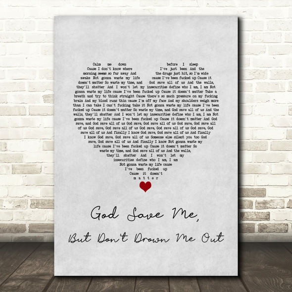 Yungblud god save me, but don't drown me out Grey Heart Song Lyric Art Print