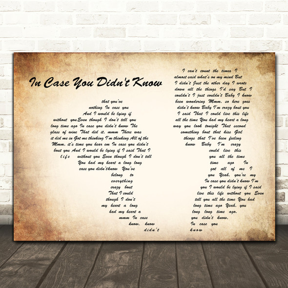 Brett Young In Case You Didn't Know Man Lady Couple Song Lyric Quote Print