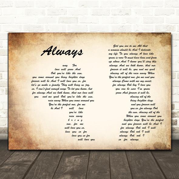 Atlantic Starr Always Man Lady Couple Song Lyric Quote Print