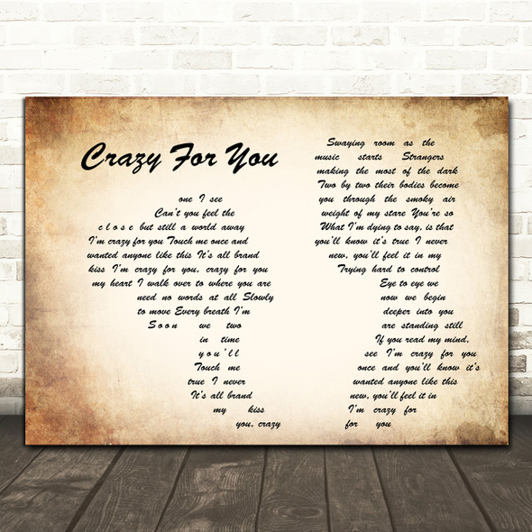 Madonna Crazy For You Man Lady Couple Song Lyric Quote Print