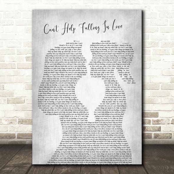 Elvis Presley Can't Help Falling In Love Lesbian Women Gay Brides Couple Wedding Grey Song Lyric Art Print