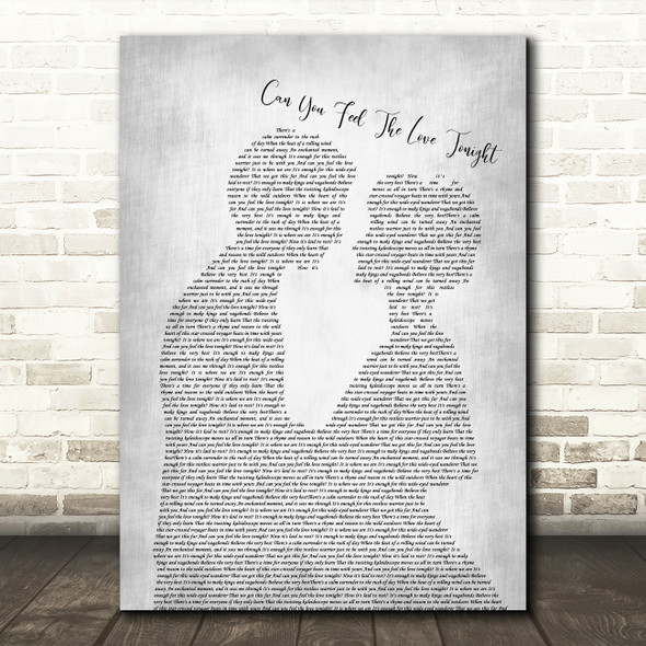 Elton John Can You Feel The Love Tonight Man Lady Bride Groom Wedding Grey Song Lyric Art Print
