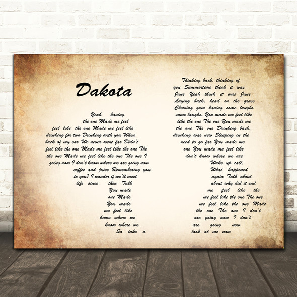 Stereophonics Dakota Man Lady Couple Song Lyric Quote Print