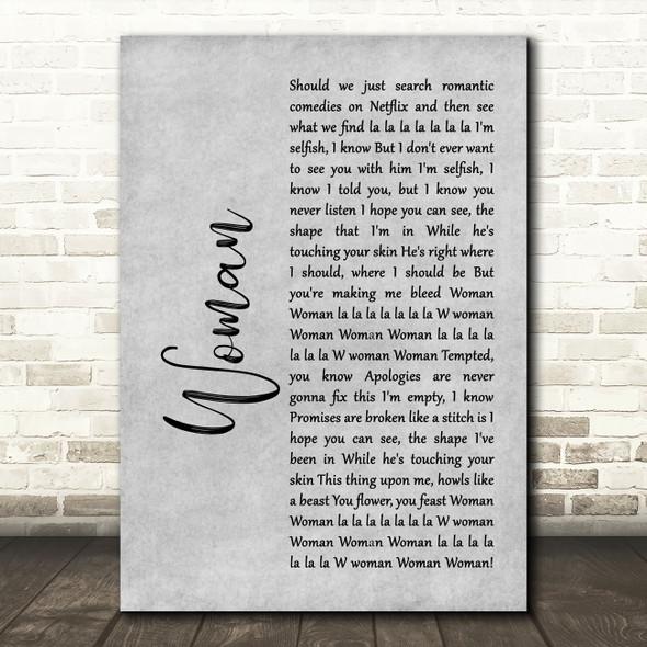 Harry Styles Woman Grey Rustic Script Song Lyric Art Print